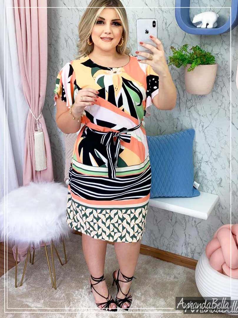 Vestido Viscose Premium Estampado - Amanda Bella
