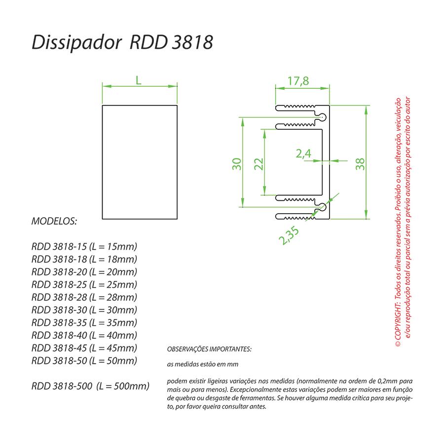 Dissipador de Calor RDD3818-60
