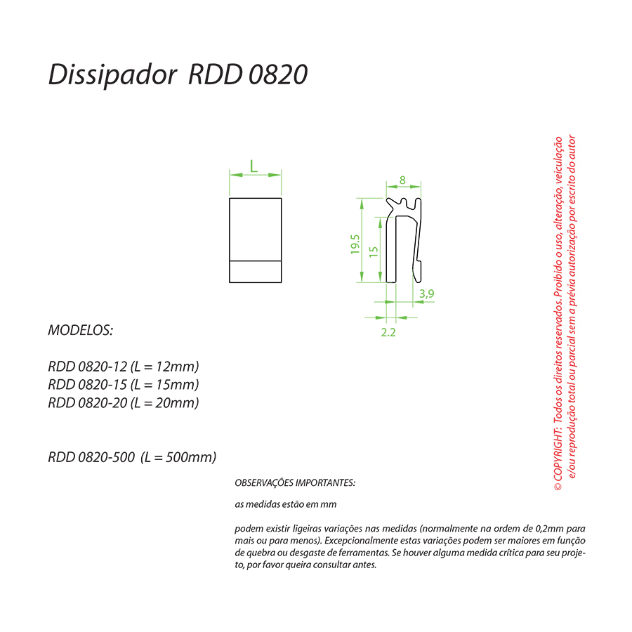 Dissipador de Calor RDD 0820-15