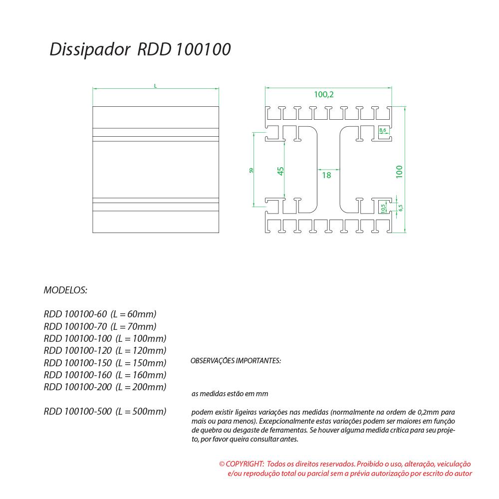 Dissipador de calor RDD 100100-160