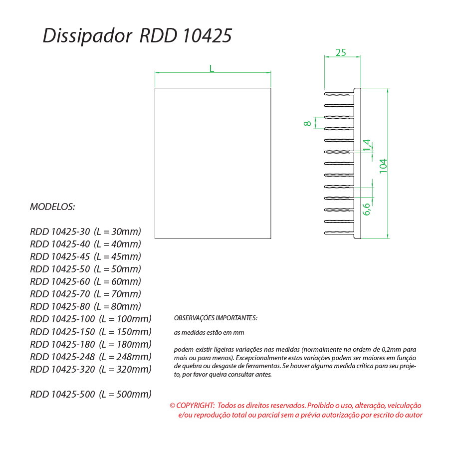 Dissipador de Calor RDD 10425-600