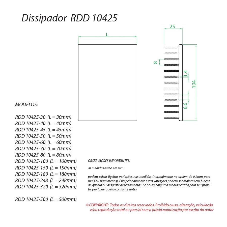 Dissipador de Calor  RDD 10425-675