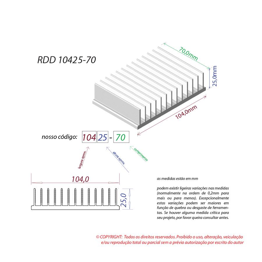 Dissipador de calor RDD 10425-70