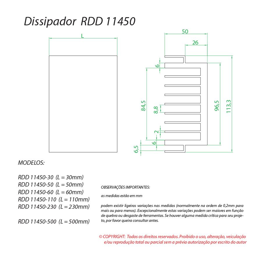 Dissipador de calor RDD 11450-60