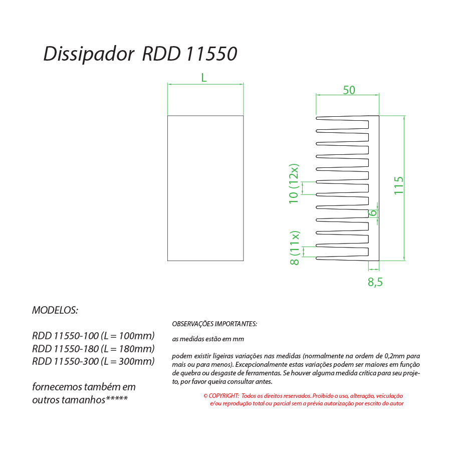 Dissipador de calor RDD 11550-180