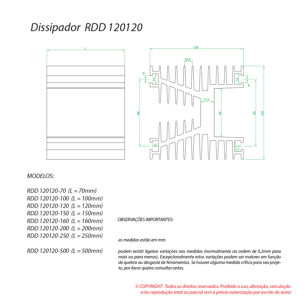 Dissipador de calor RDD 120120-150