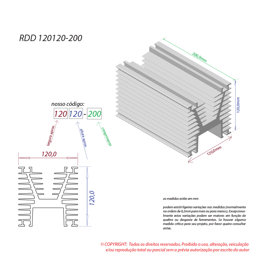 Dissipador de calor RDD 120120-200