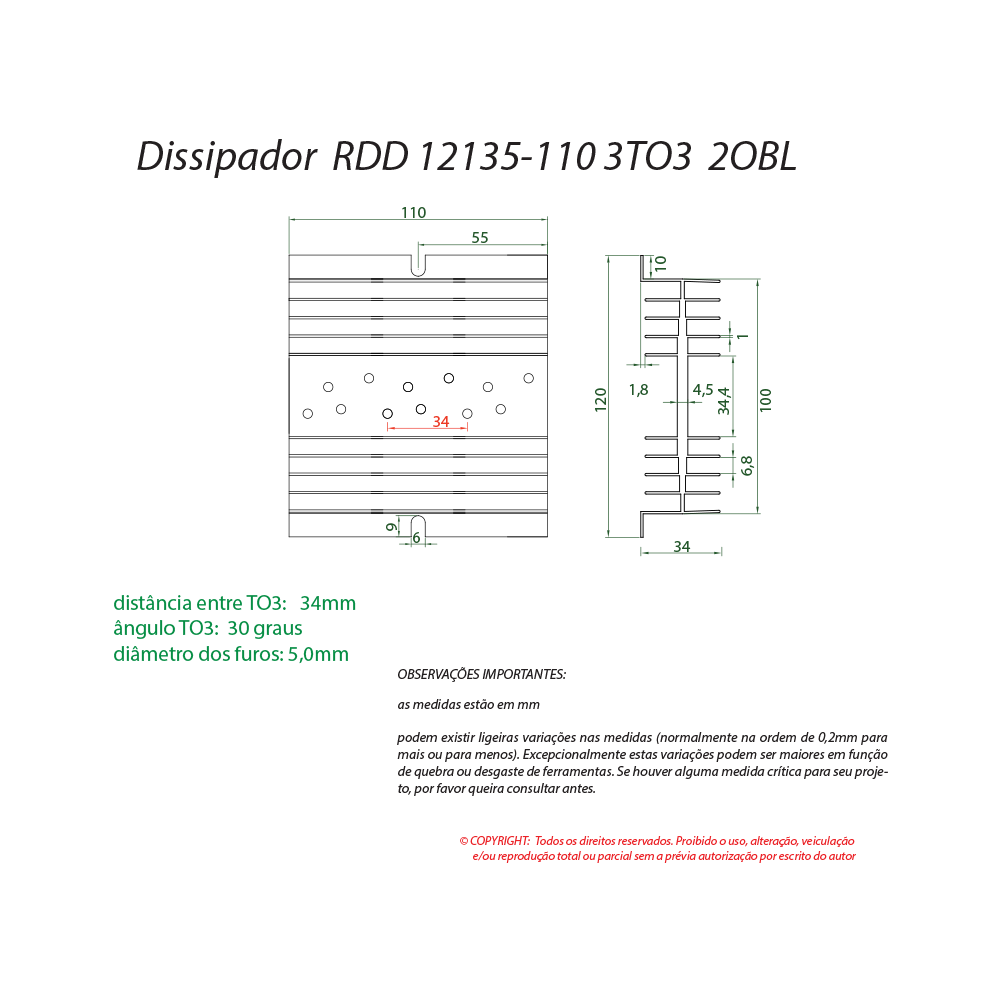 Dissipador de calor RDD 12135-110 3TO3
