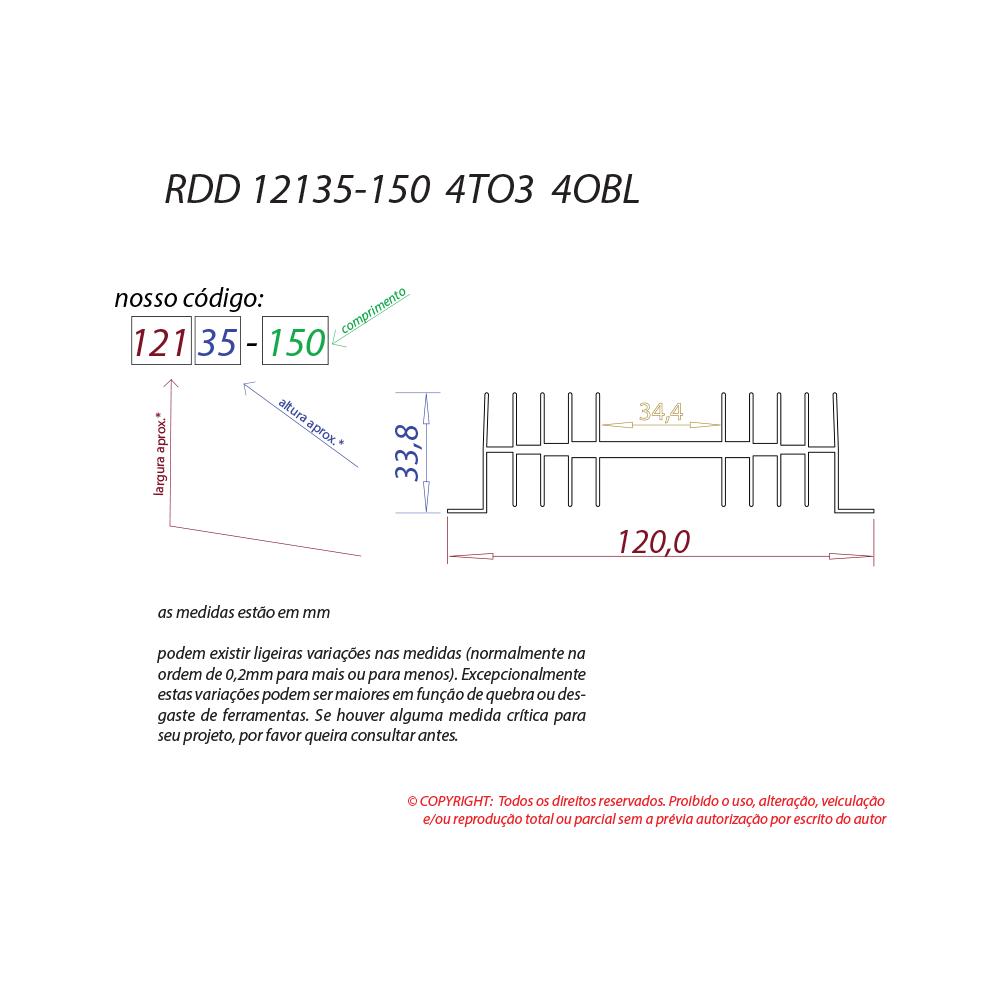 Dissipador de calor RDD 12135-150 4TO3