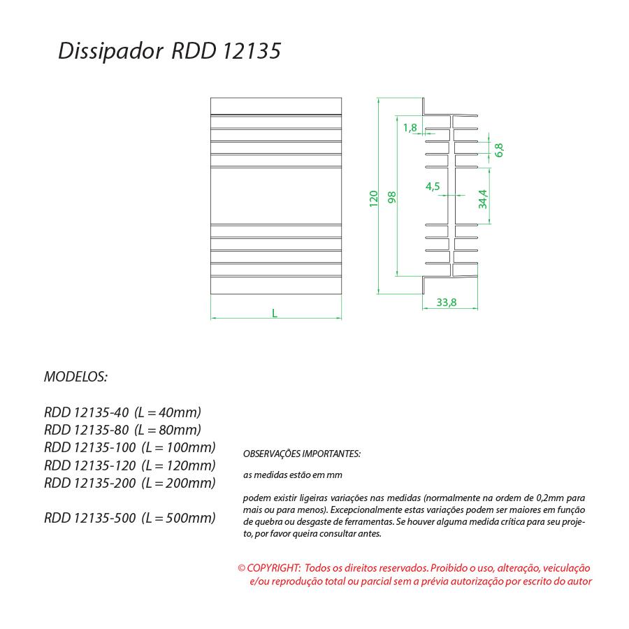 Dissipador de calor RDD 12135-40