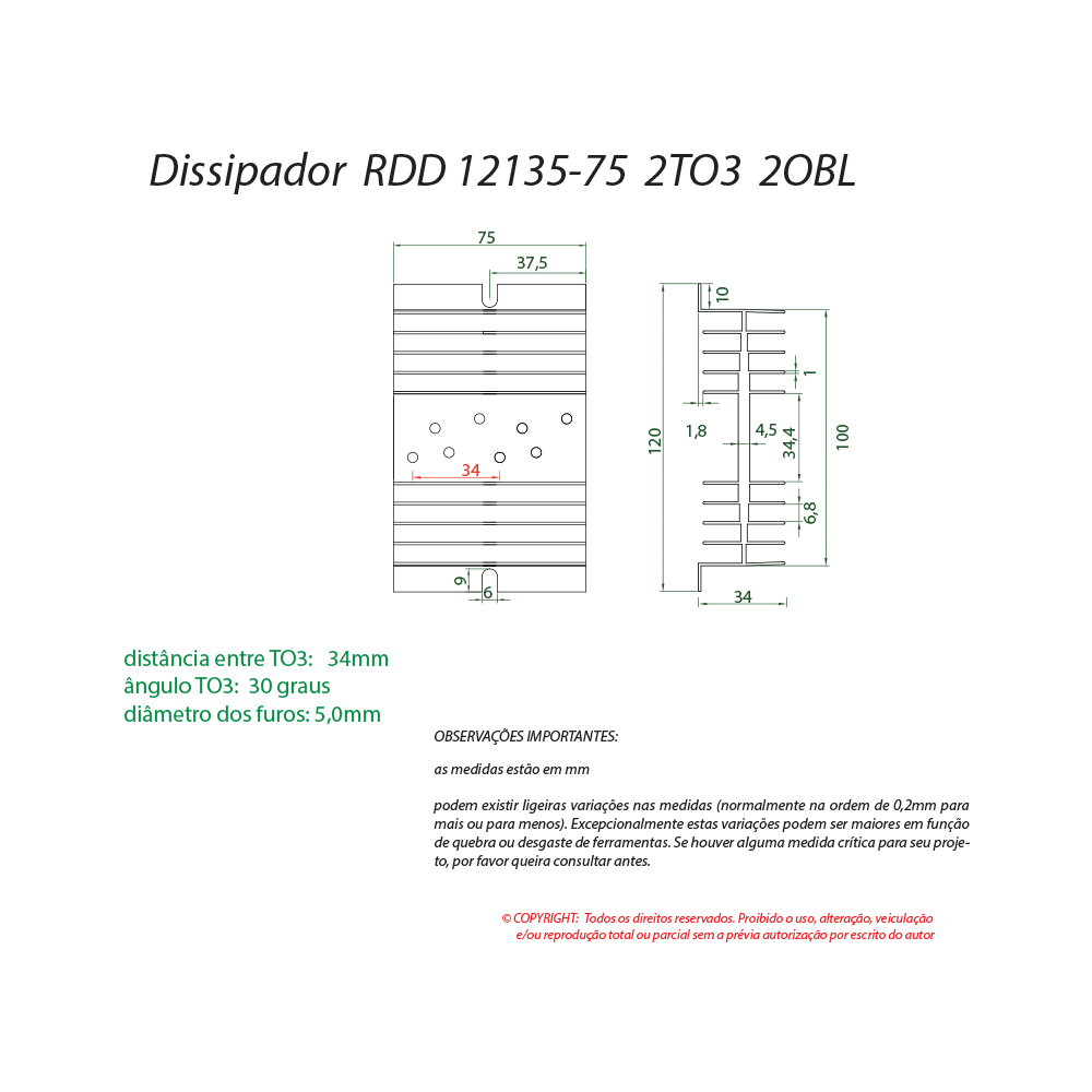 Dissipador de calor RDD 12135-75 2TO3
