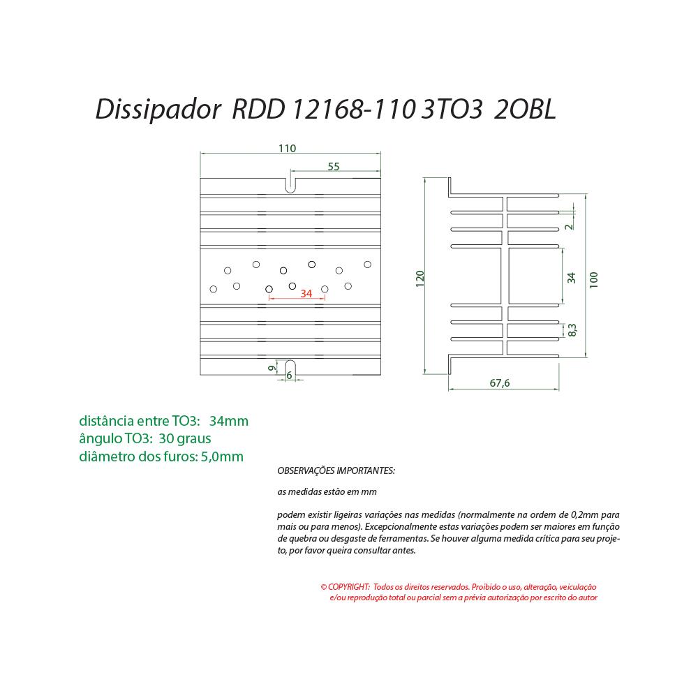 Dissipador de calor RDD 12168-110 3TO3