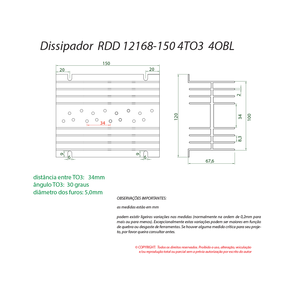 Dissipador de calor RDD 12168-150 4TO3