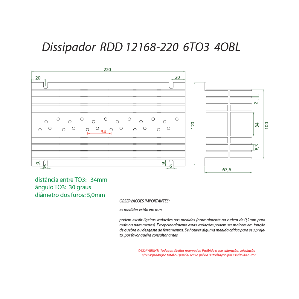 Dissipador de calor RDD 12168-220 6TO3