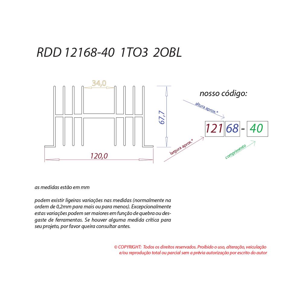 Dissipador de calor RDD 12168-40 1TO3