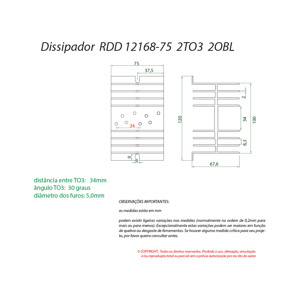 Dissipador de calor RDD 12168-75 2TO3