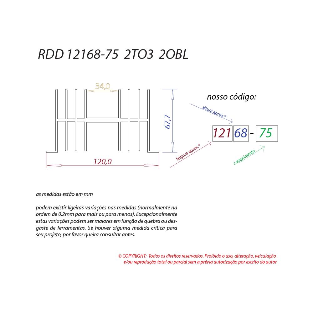 Dissipador de calor RDD 12168-75 2TO3