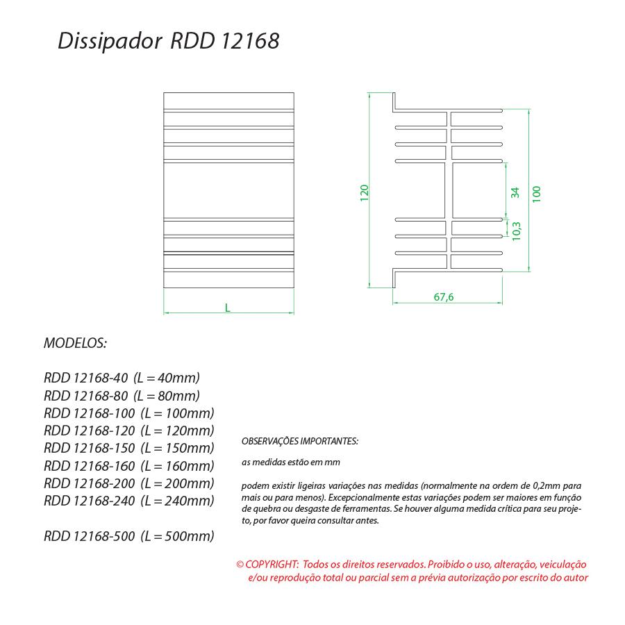 Dissipador de calor RDD 12168-80
