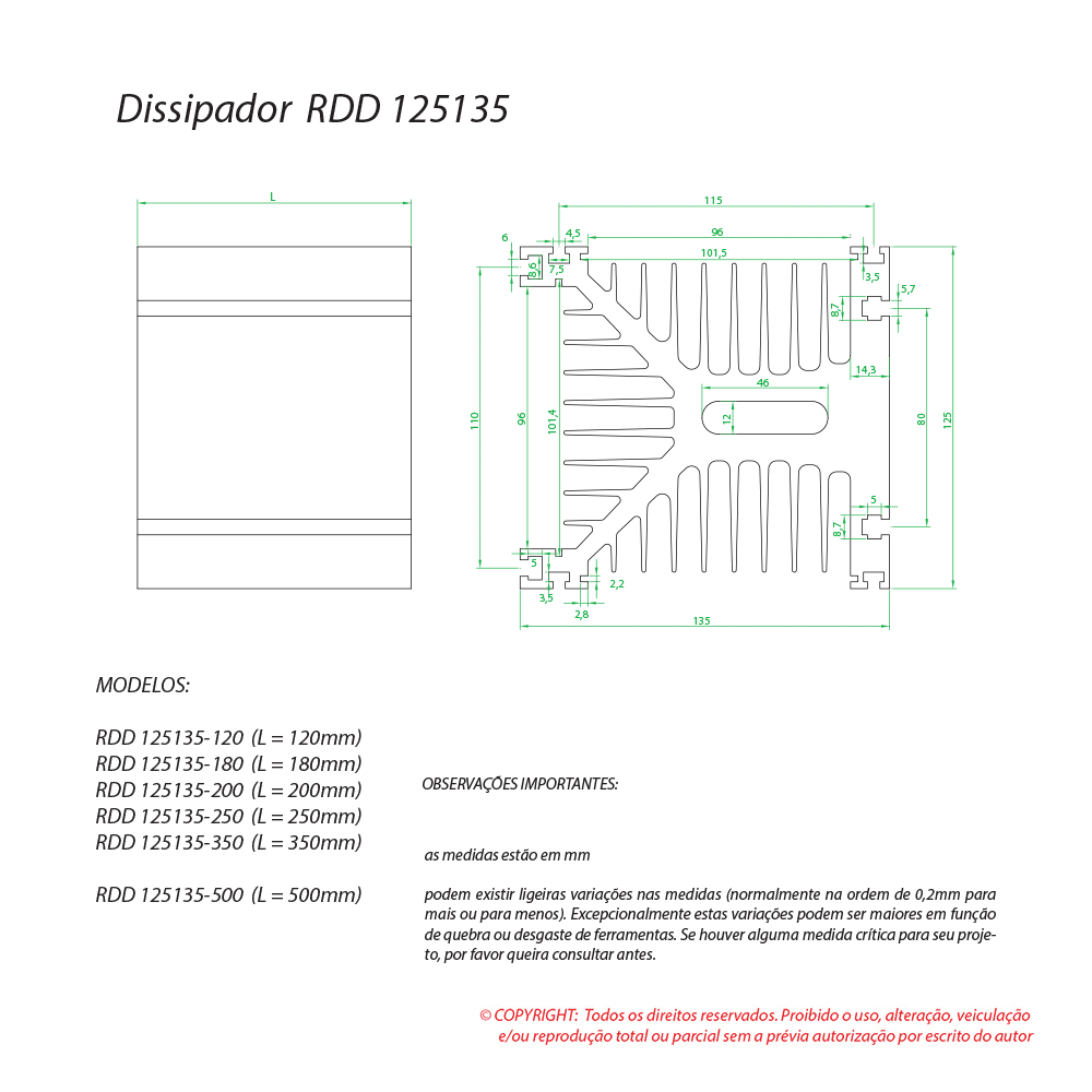 Dissipador de calor RDD 125135-200