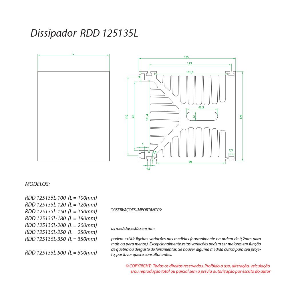 Dissipador de calor RDD 125135L-350