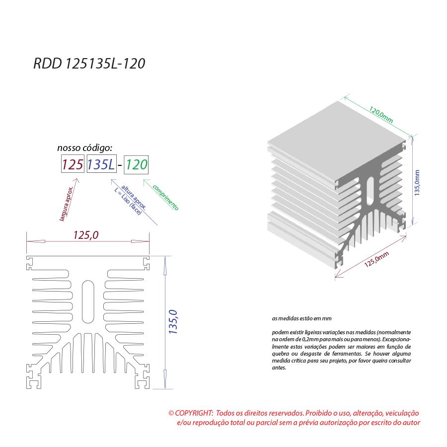 Dissipador de calor RDD 125135L-120