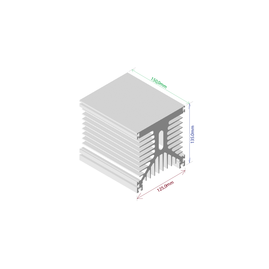 Dissipador de calor RDD 125135L-150