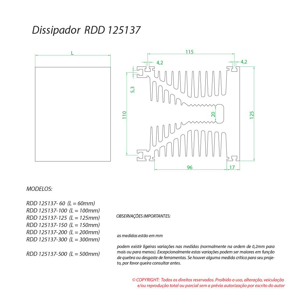 Dissipador de calor RDD 125137-125
