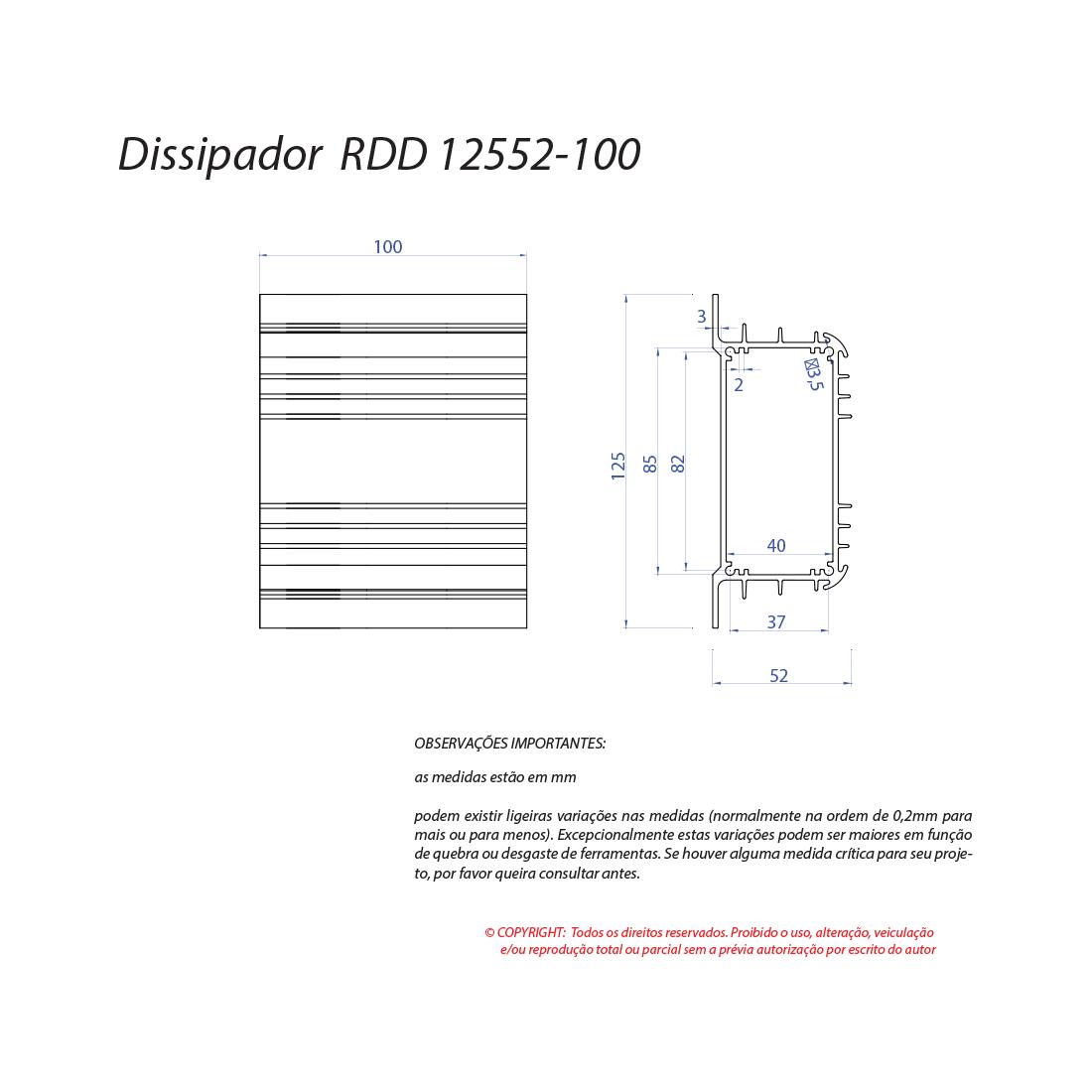 Dissipador de calor RDD 12552-100 2OBL