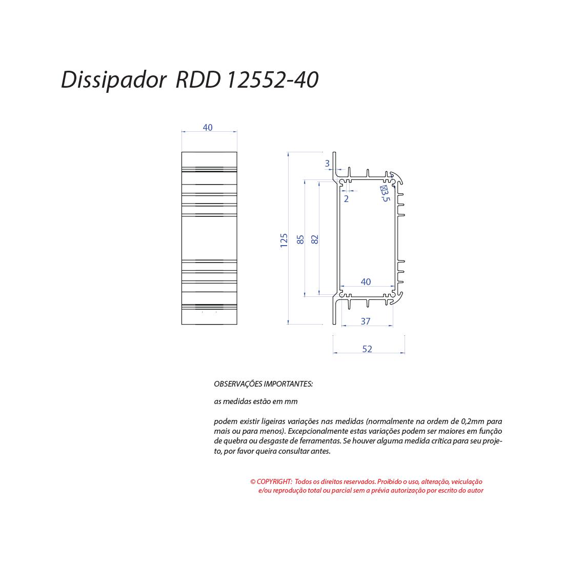 Dissipador de calor RDD 12552-40