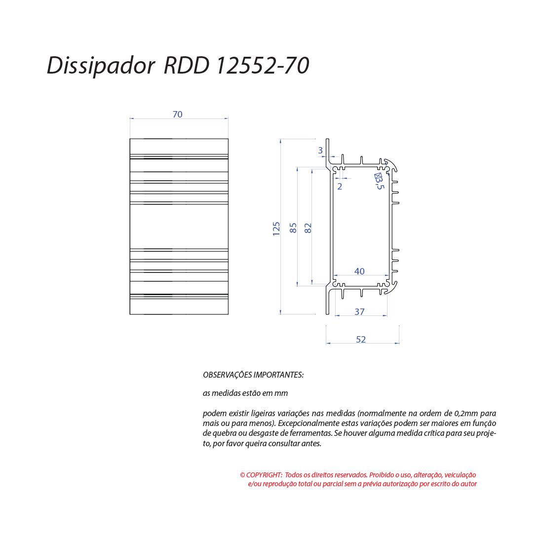 Dissipador de calor RDD 12552-70