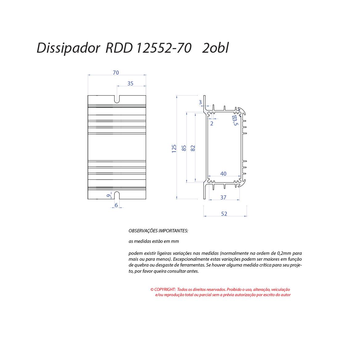 Dissipador de calor RDD 12552-70 2OBL