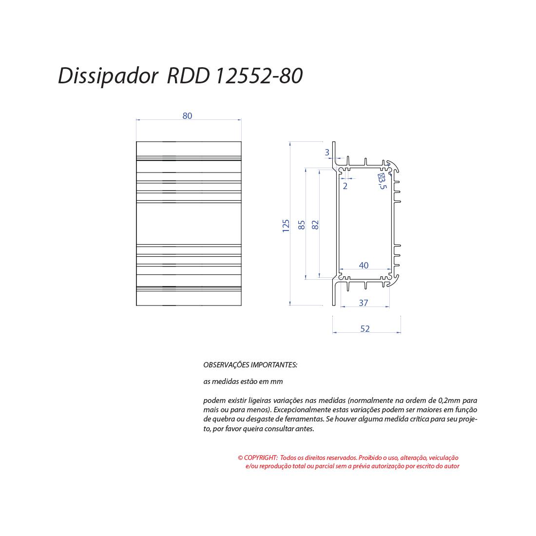 Dissipador de calor RDD 12552-80