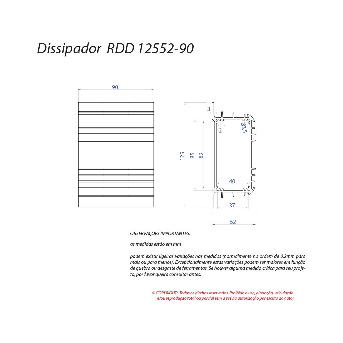 Dissipador de calor RDD 12552-90