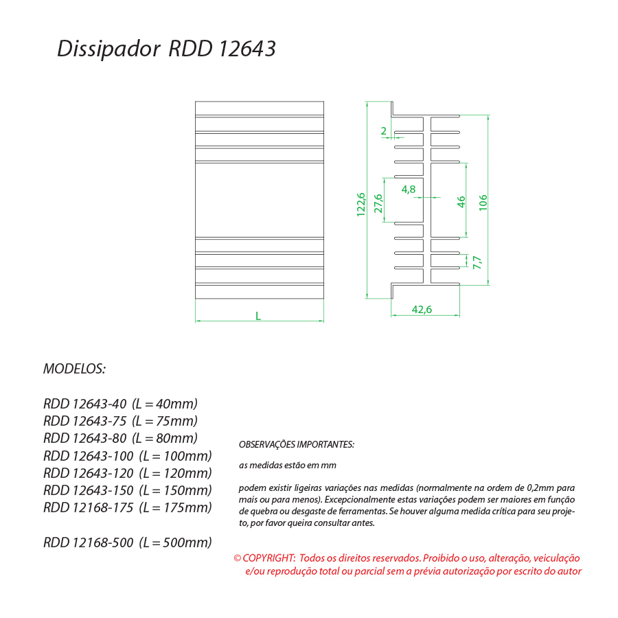 Dissipador de calor RDD 12643-40