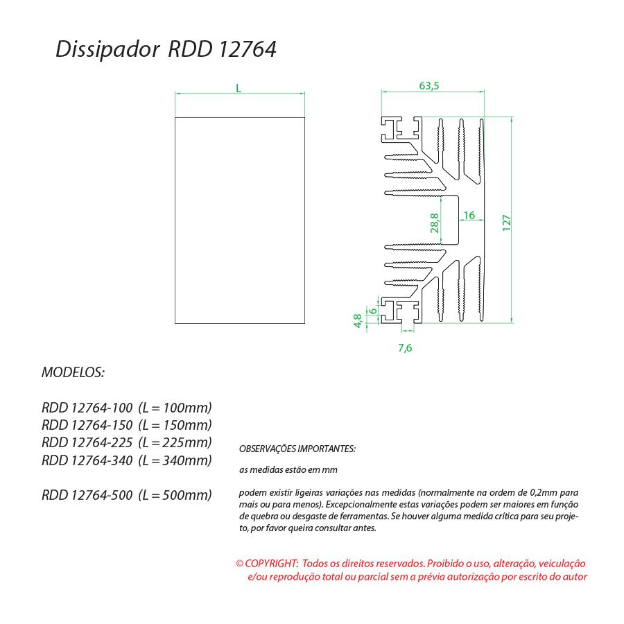 Dissipador de calor RDD 12764-100
