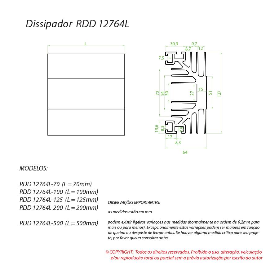 Dissipador de calor RDD 12764L-100