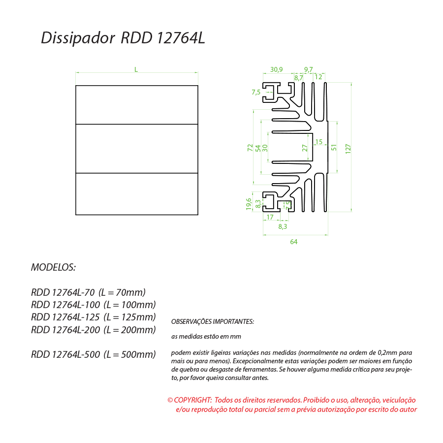 Dissipador de calor RDD 12764L-150