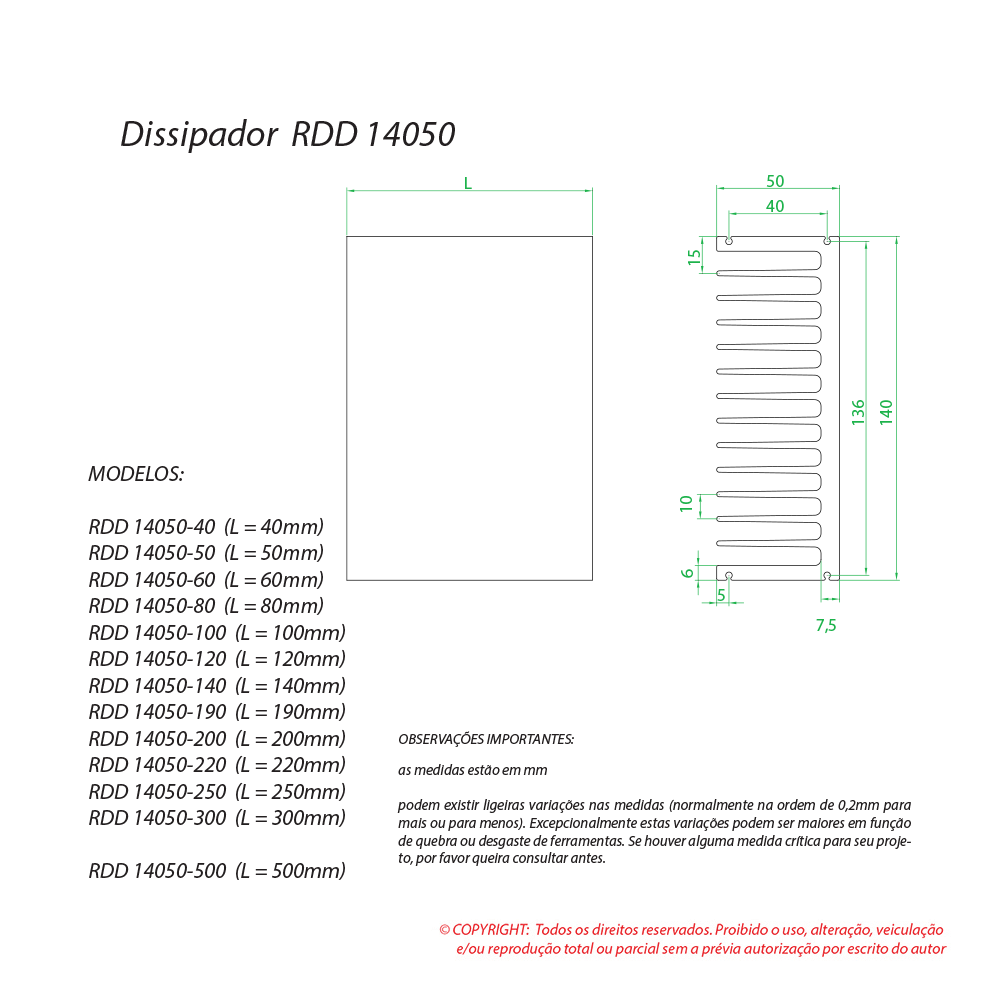 Dissipador de calor RDD 14050-60