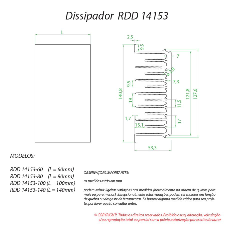 Dissipador de Calor RDD 14153-120