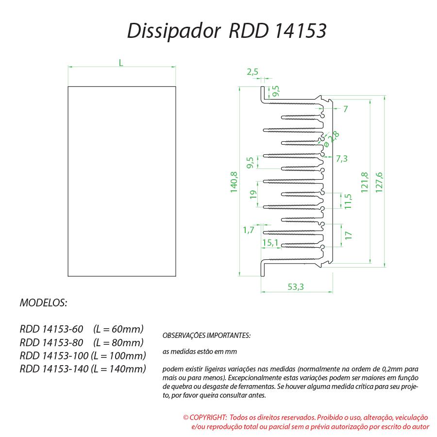 Dissipador de calor RDD 14153-80