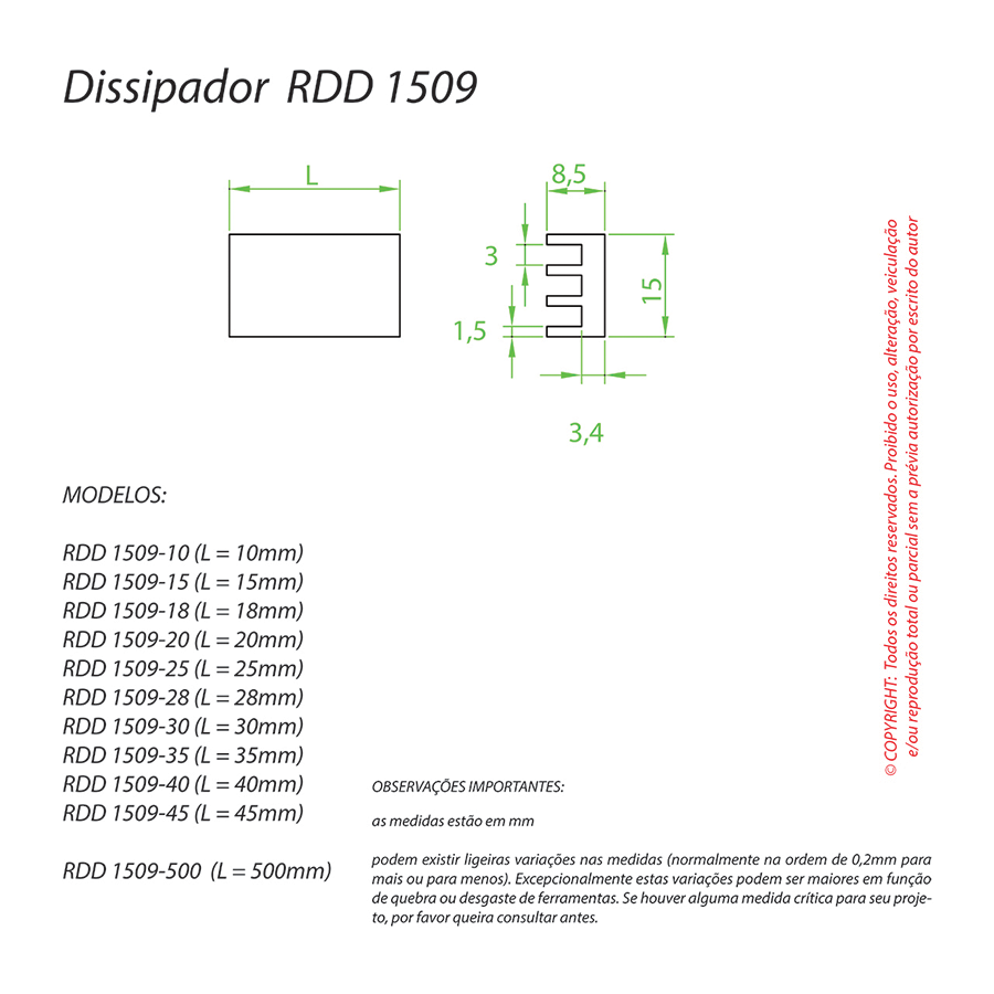 Dissipador de Calor RDD 1509-18