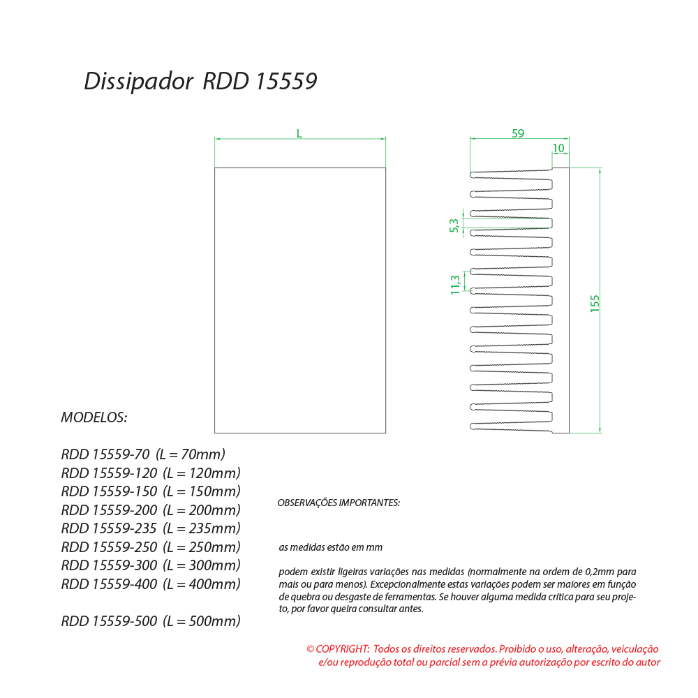 Dissipador de calor RDD 15559-300