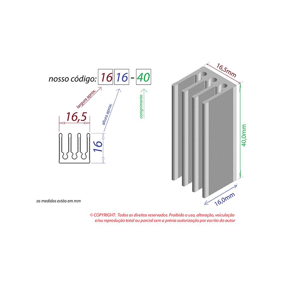 Dissipador de Calor RDD 1616-40