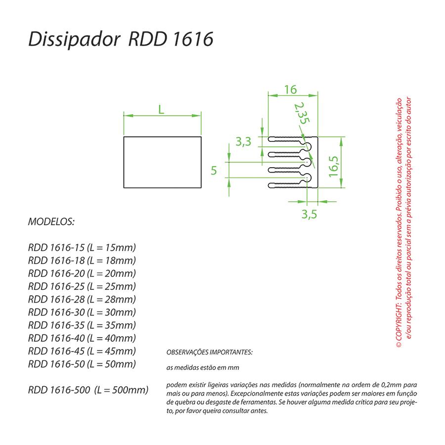 Dissipador de Calor RDD 1616-50