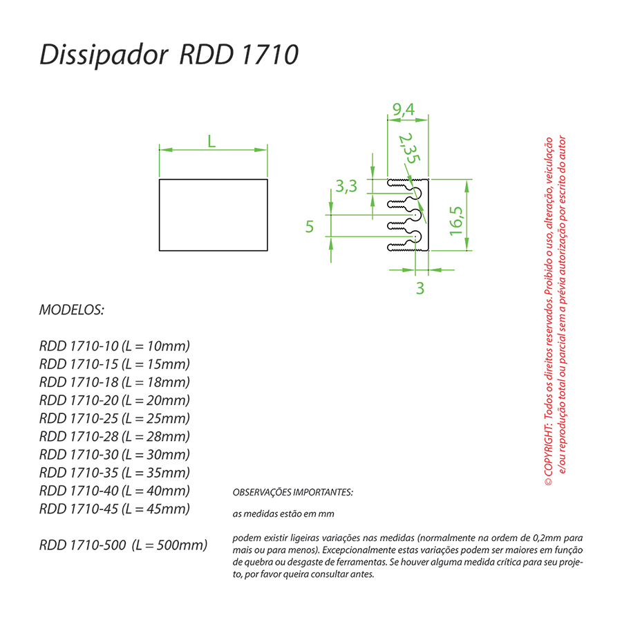 Dissipador de Calor RDD 1710-28