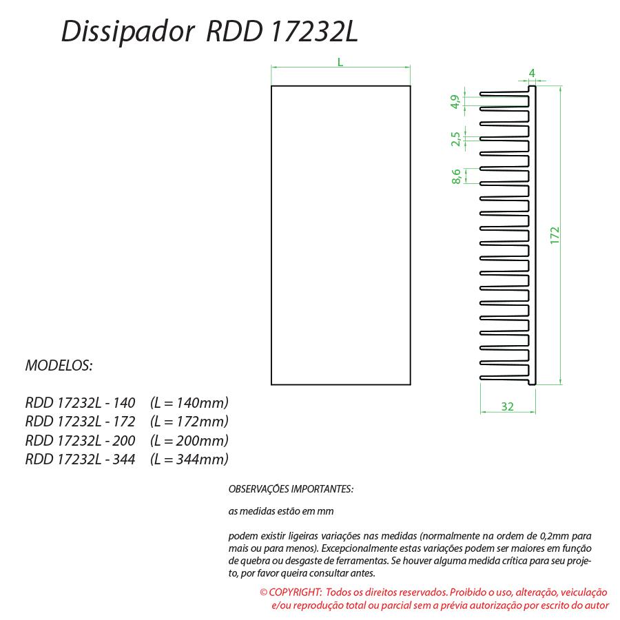 Dissipador de calor RDD 17232L-200