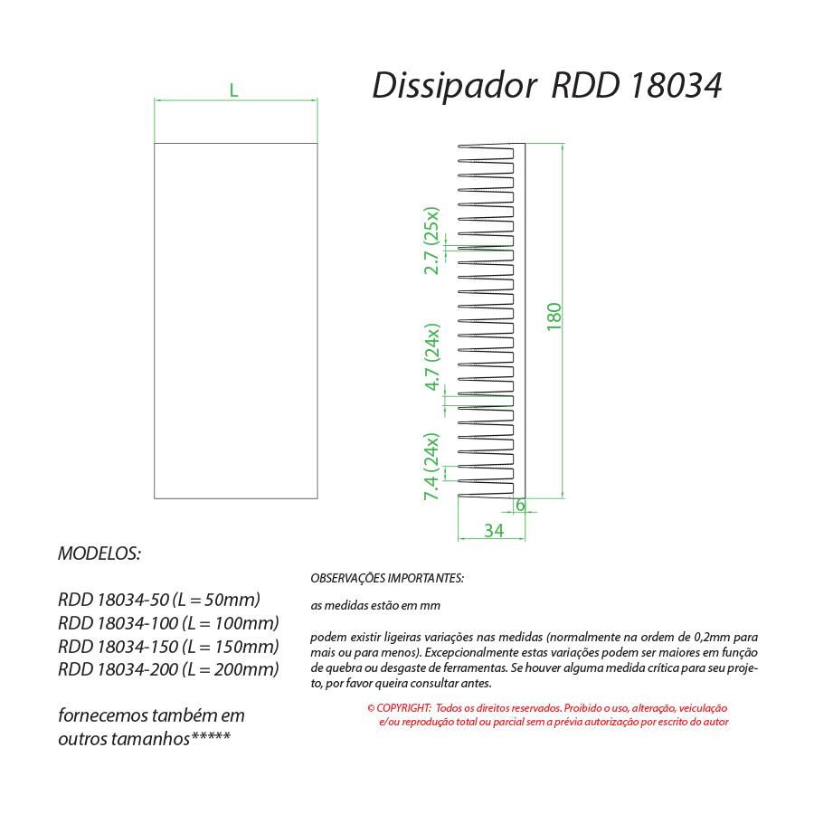 Dissipador de calor RDD 18034-150