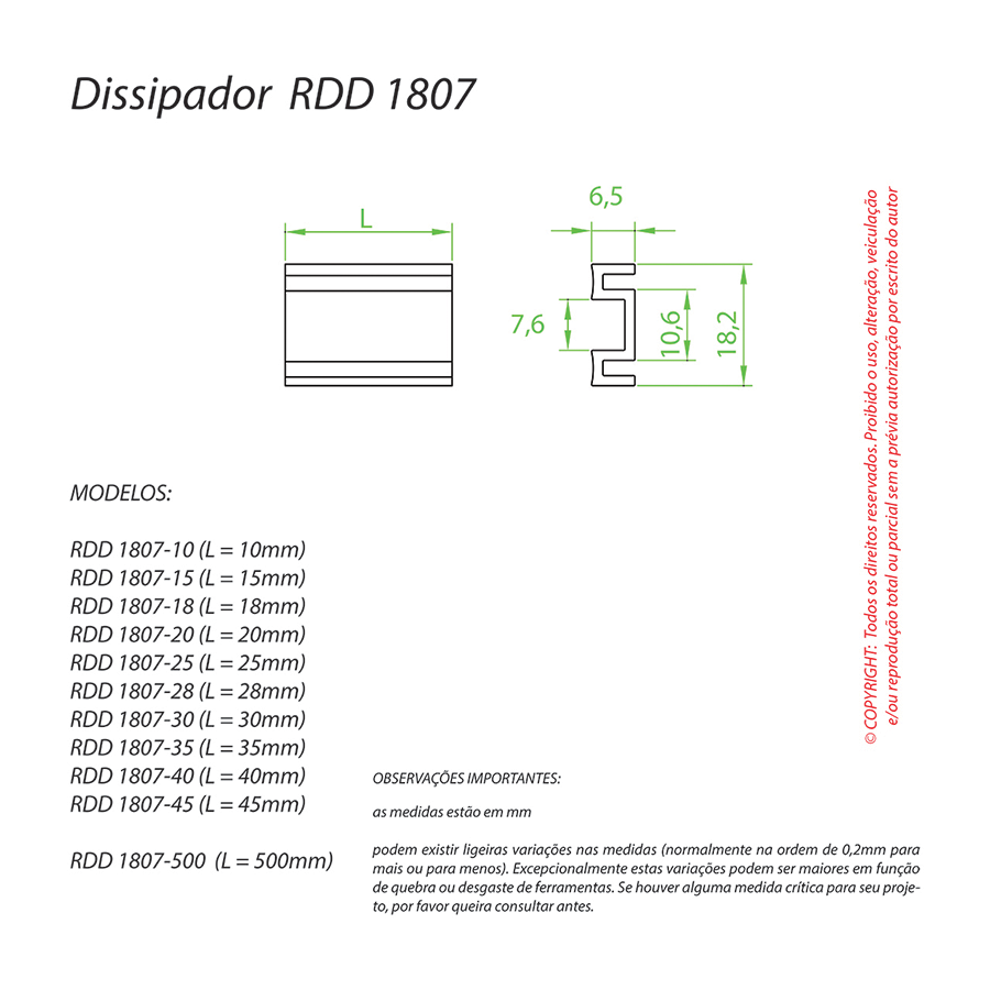 Dissipador de Calor RDD 1807-35