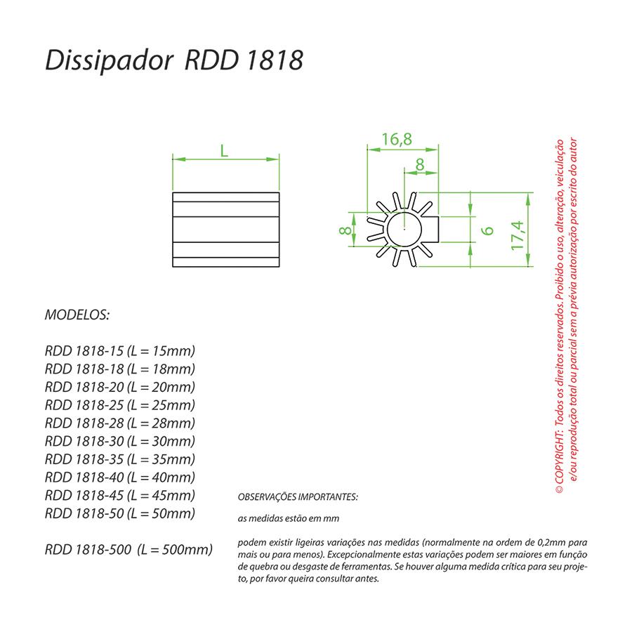 Dissipador de Calor RDD 1818-20