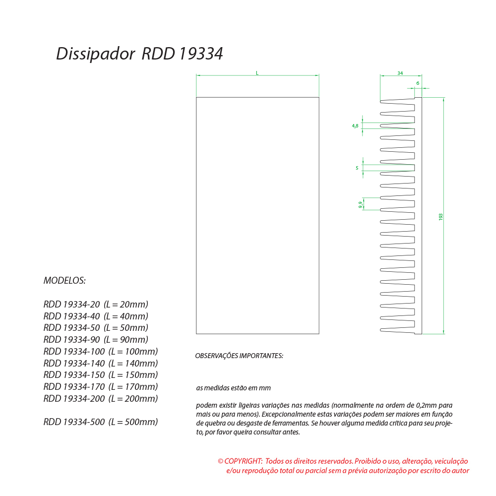 Dissipador de calor RDD 19334-100